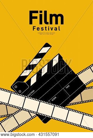 Movie And Film Poster Design Template Background With Film Slate And Filmstrip. Can Be Used For Back