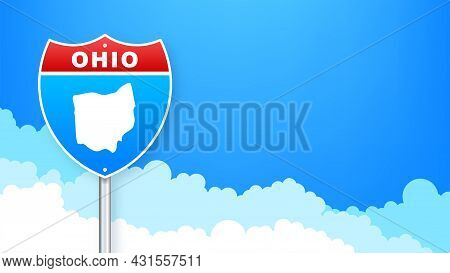 Ohio Map On Road Sign. Welcome To State Of Ohio. Vector Illustration.