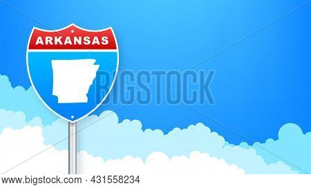 Arkansas Map On Road Sign. Welcome To State Of Arkansas. Vector Illustration.