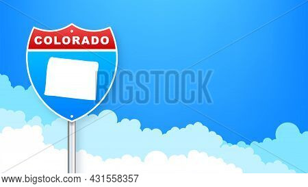 Colorado State Map Outline Road Sign. Vector Illustration.