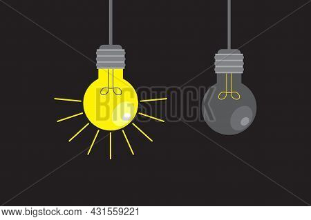 Hanging Simple Bulb. On And Off Lamp On Dark Backdrop. Sketch Outline Drawing. Vector Illustration.