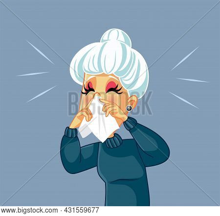 Old Woman Feeling Sick Blowing Nose Vector Illustration