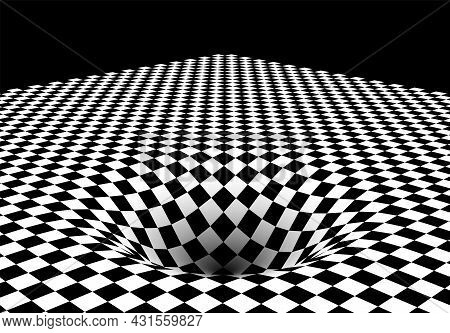 Abstract Checkered Board Background With Round Pit Or Hole And Corner. Surreal Illustration.