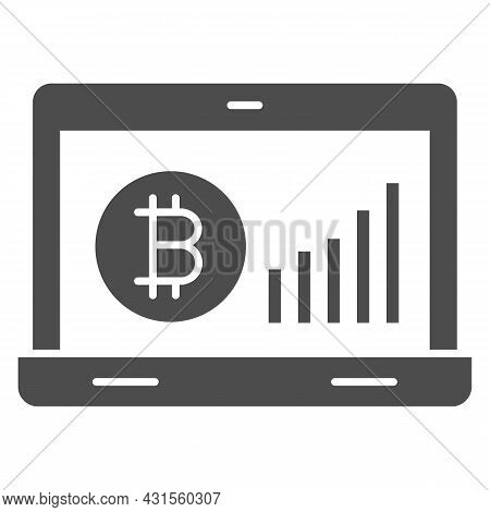 Bitcoin Surge Graph On Laptop Screen Solid Icon, Cryptocurrency Concept, Btc Rate Vector Sign On Whi
