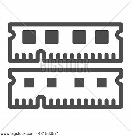 Ram Module Solid Icon, Electronics Concept, Memory Module Fragments Vector Sign On White Background,