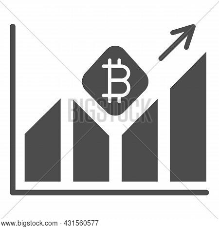Graph Of Bitcoin Value Growth Solid Icon, Cryptocurrency Concept, Btc Rate Surging Vector Sign On Wh