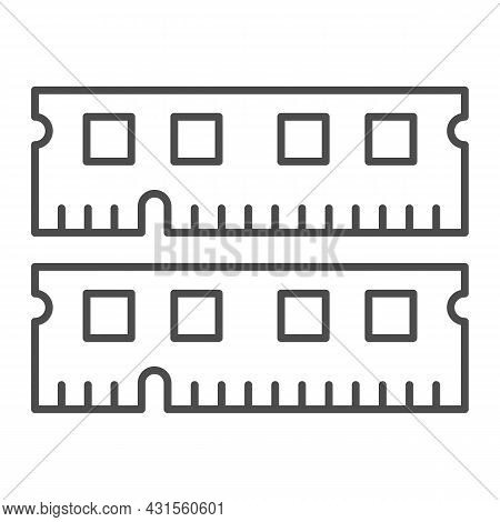 Ram Module Thin Line Icon, Electronics Concept, Memory Module Fragments Vector Sign On White Backgro