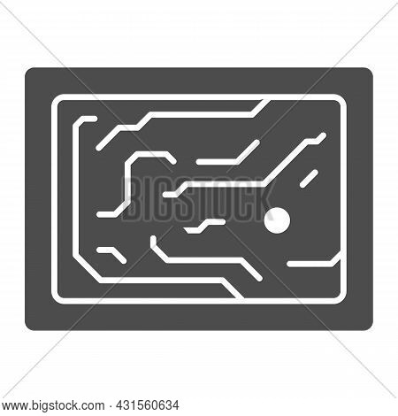 Printed Circuit Board Simplified Diagram Solid Icon, Electronics Concept, Pcb Vector Sign On White B