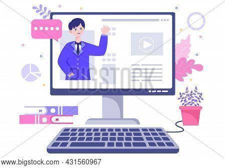 Business Online Training, Seminar Or Courses Background Vector Illustration. Mentor Doing Presentati
