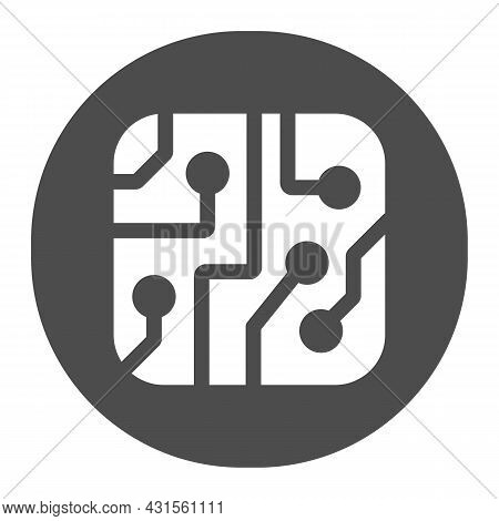 Pcb Layout In Circle Solid Icon, Electronics Concept, Printed Circuit Board In Circle Vector Sign On