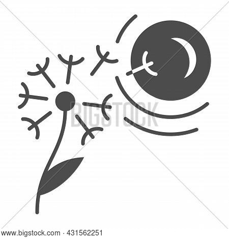 Dandelion Seeds Fly To Sun Solid Icon, Nature And Climate Concept, Flower And Sunshine Vector Sign O