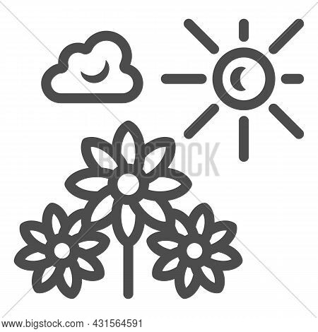 Sun Illuminate Flowers, Cloud, Sky Line Icon, Nature Concept, Sunshine And Bloom Vectror Sign On Whi