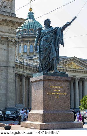 St. Petersburg, Russia - July 09, 2021: Monument To Field Marshal Knyazu Kutuzov Smolensky In Front