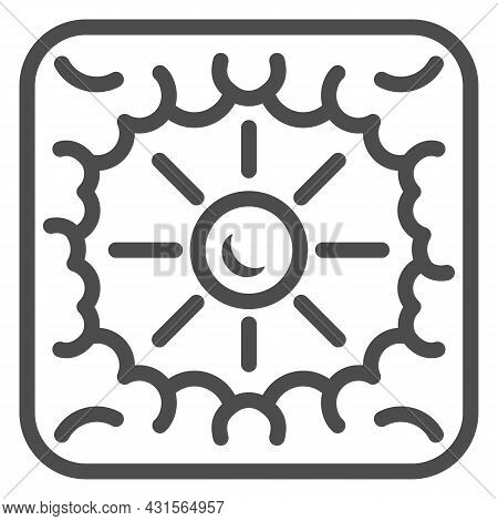 Sun Shine Through Clouds Line Icon, Weather And Climate Concept, Sunshine Cloudy Sky Vector Sign On