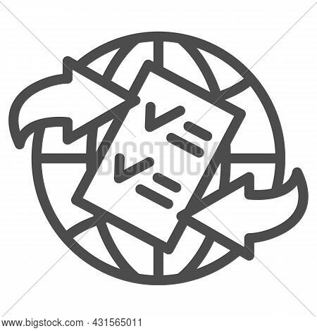 Globe, Arrow, Checkmark, Papper Form Line Icon, Documetns Concept, Legal Tourism Vector Sign On Whit