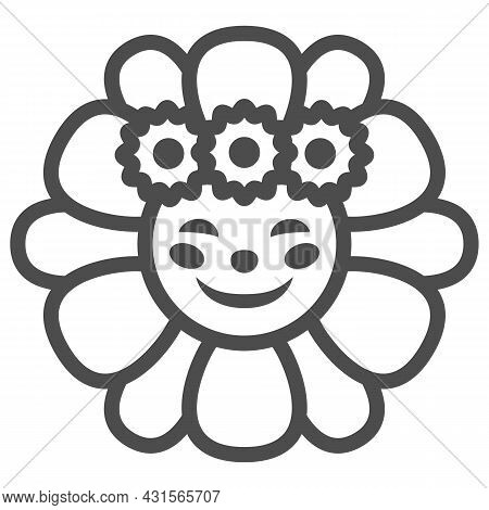Smiling Sun In Daisies Wreath Line Icon, Weather Concept, Sunflower In Diadem Vector Sign On White B