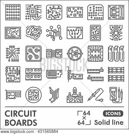 Printed Circuit Board Line Icon Set, Micro Chip Symbols Collection Or Sketches. Pcb Solid Line Linea