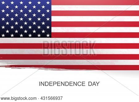 White Illustration With Silhouette Of Flag Of America, Memorial Day.