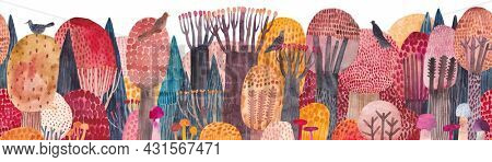 Cute seamless pattern with autumn forest. Beautiful panorama landscapes of forest in autumn. Watercolor forest.
