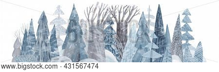 Panorama of a snow-covered coniferous forest. Cute gouache forest. Horizontal view of the winter forest.