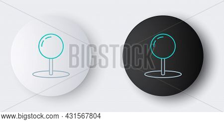 Line Push Pin Icon Isolated On Grey Background. Thumbtacks Sign. Colorful Outline Concept. Vector