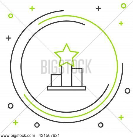 Line Star Icon Isolated On White Background. Favorite, Score, Best Rating, Award Symbol. Colorful Ou