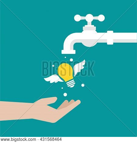 Tap Or Faucet With Flying Idea Bulbs. Imagination, Fantasy Resource Concept. Know How. New Business