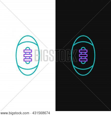 Line American Football Ball Icon Isolated On White And Black Background. Rugby Ball Icon. Team Sport