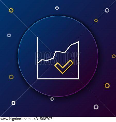 Line Financial Growth Increase Icon Isolated On Blue Background. Increasing Revenue. Colorful Outlin