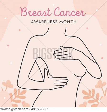 International Day Against Breast Cancer. Line Art Woman With World Map On Background. Vector Flat St