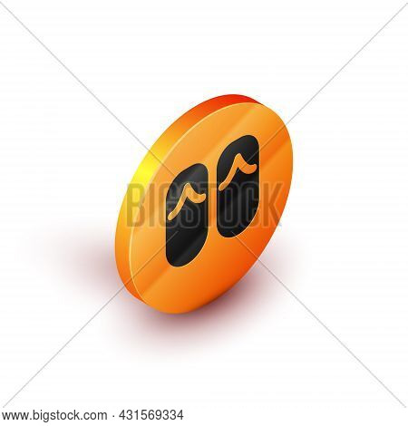 Isometric Flip Flops Icon Isolated On White Background. Beach Slippers Sign. Orange Circle Button. V