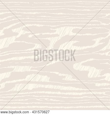 Light Beige (ivory) Wooden Surface With Fibre And Grain. Natural Lines Wood, Hand Draw Hatching Text