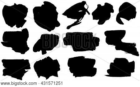 Set Of Black Smears Paint, Ink Brush Strokes, Brushes, Lines. Dirty Artistic Grunge Ink Banner. Bord