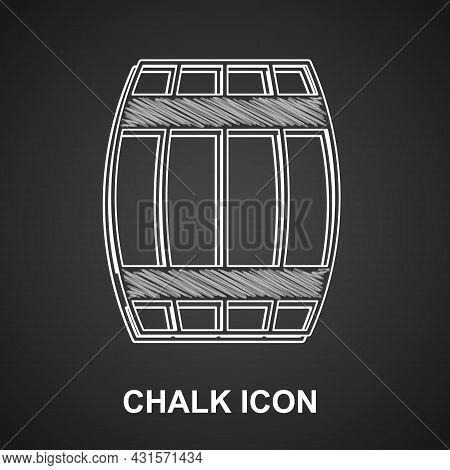 Chalk Wooden Barrel Icon Isolated On Black Background. Alcohol Barrel, Drink Container, Wooden Keg F