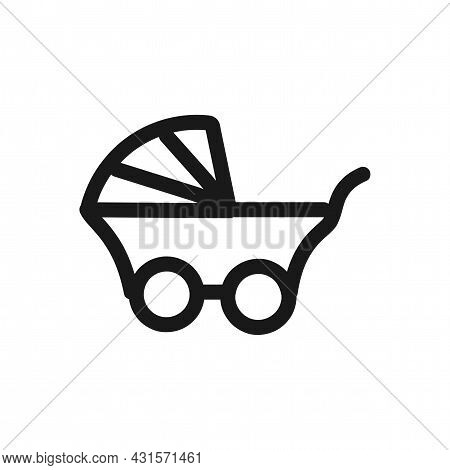 Baby Carriage Icon. Baby Stroller Line Vector Icon.