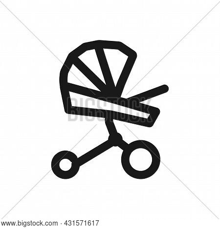 Baby Carriage Icon. Baby Stroller Vector Icon. Baby Carriage Line Icon.