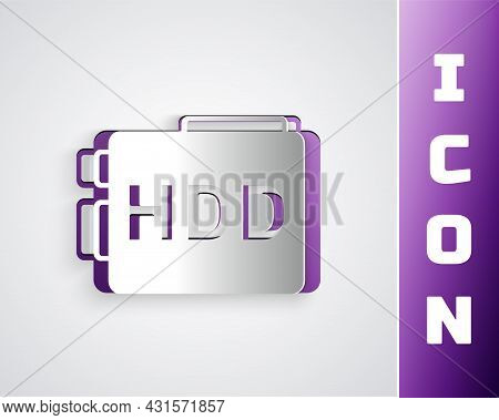 Paper Cut Hard Disk Drive Hdd Icon Isolated On Grey Background. Paper Art Style. Vector