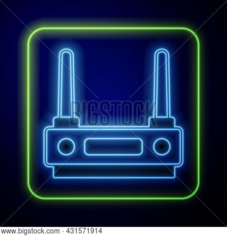 Glowing Neon Router And Wi-fi Signal Icon Isolated On Blue Background. Wireless Ethernet Modem Route