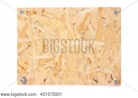Osb nameplate or chipboard texture isolated on white background. Front view of name plate