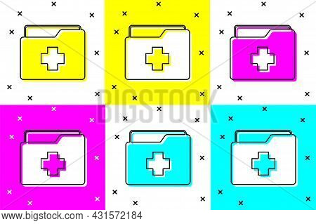 Set Medical Clipboard With Clinical Record Icon Isolated On Color Background. Prescription, Medical
