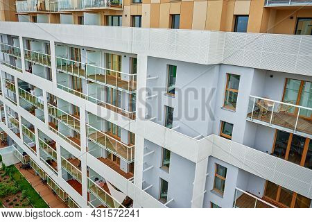 Modern Residential Complex. Facade Of New House Block In Europe. Complex Of Apartment Residential Bu