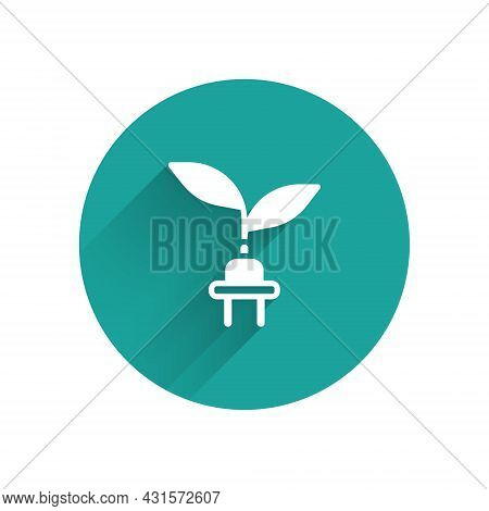 White Electric Saving Plug In Leaf Icon Isolated With Long Shadow Background. Save Energy Electricit