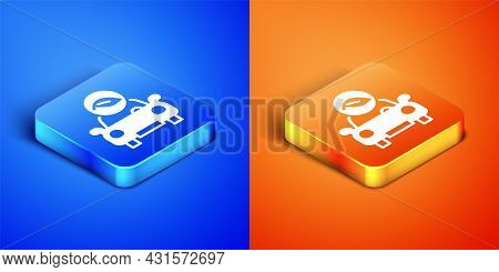 Isometric Eco Car Concept Drive With Leaf Icon Isolated On Blue And Orange Background. Green Energy