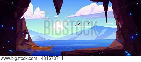 Cave In Rock With Blue Crystals And View To Lake And Mountains On Horizon. Vector Cartoon Landscape