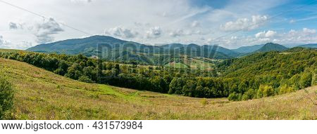 Carpathian Countryside In September. Beautiful Mountain Landscape With Grassy Field On The Hill. Rur