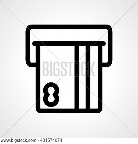 Insert Credit Card Line Icon. Insert Credit Card To Atm Isolated Simple Vector Icon