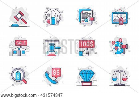Auction Concept Flat Line Icons Set. Auction Business And Sale Of Valuable Lots. Bundle Of Hammer, B