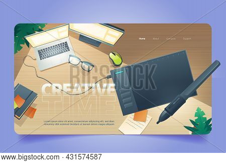 Creative Time Cartoon Landing Page, Graphic Designer Workplace Top View With Digital Tablet For Pain