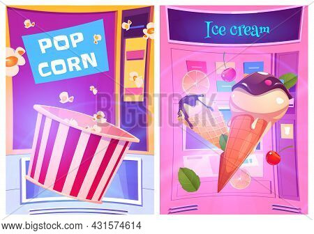 Pop Corn And Ice Cream Snacks At Vending Machine Cartoon Ad Posters. Sweet Desserts Shop, Product Re