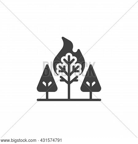 Wildfire In Forest Vector Icon. Filled Flat Sign For Mobile Concept And Web Design. Burning Forest T